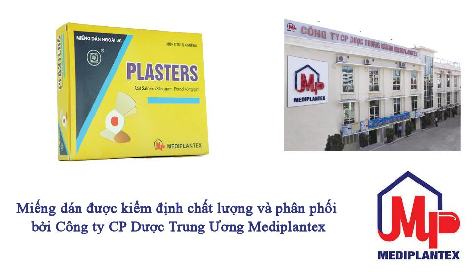Plasters được kiểm định và phân phối bởi công ty dược trung ương 1 Mediplantex